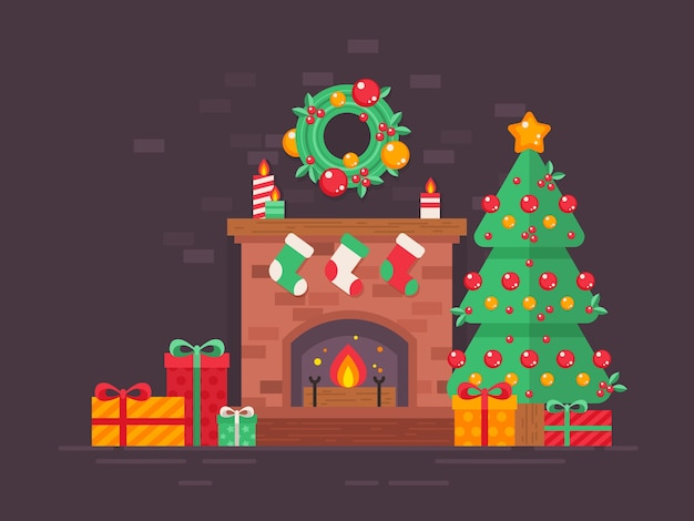 Festive christmas tree and decorated fireplace flat card