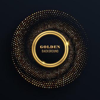 輝く金色のハーフトーンパターンと黒の背景の抽象的なテクスチャ背景のグラフィックデザインのお祝いサークル