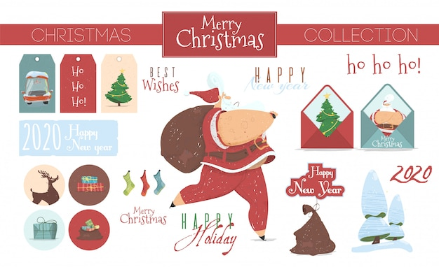 Festive collection of christmas elements isolated