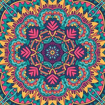 お祝いのカラフルな曼荼羅アートパターン