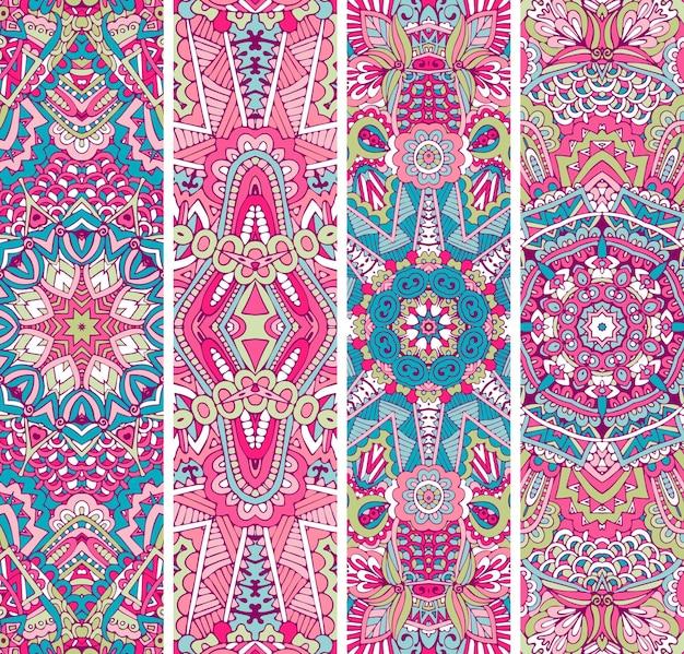 Набор праздничных красочных декоративных этнических баннеров. орнаментальные шаблоны племенных геометрических каракули. стиль бохо