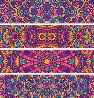 お祝いのカラフルな装飾ベクトル民族バナーセット部族の幾何学的な落書き飾り