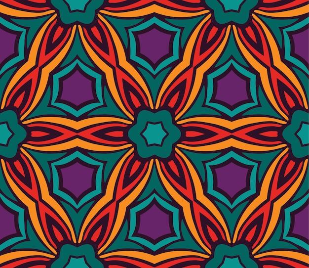 観賞用のお祝いのカラフルなシームレスなベクトルパターン。幾何学的なプリント