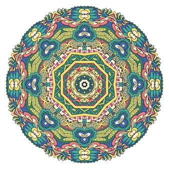 お祝いのカラフルな部族民族メダリオン複雑なベクトル