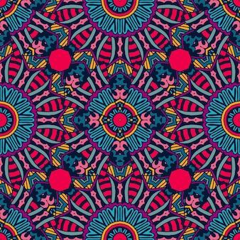 お祝いのカラフルな部族民族のシームレスなベクトルパターン装飾。幾何学的なプリント