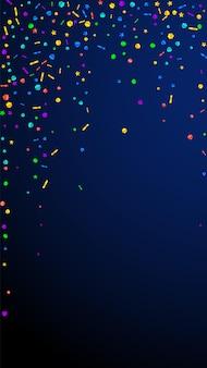 お祝いの美しい紙吹雪。お祝いの星。紺色の背景にお祝いの紙吹雪。華やかなお祝いオーバーレイテンプレート。垂直ベクトルの背景。