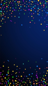 Festive creative confetti. celebration stars. festive confetti on dark blue background. good-looking festive overlay template. vertical vector background.