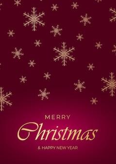 金色の雪とレタリングとお祝いの深紅色のクリスマスの背景