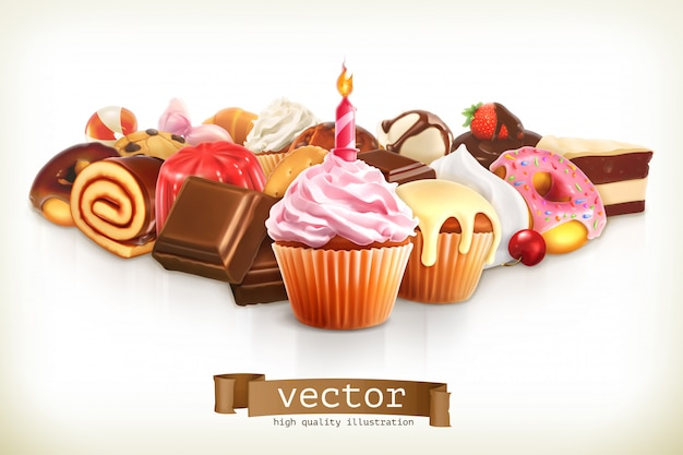 Festive cupcake with candle, confectionery illustration