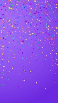 お祝いのかわいい紙吹雪。お祝いの星。紫の背景にお祝いの紙吹雪。ゴージャスなお祝いオーバーレイテンプレート。垂直ベクトルの背景。