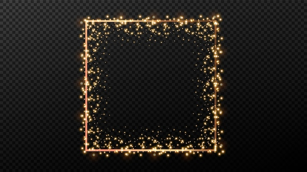 Festive decor element. shining golden light geometric shapes. golden decorative frames.