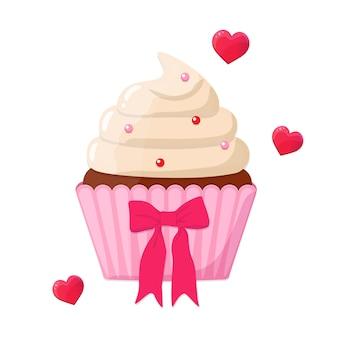 ピンクの弓で幸せなバレンタインデーのためのお祝いの装飾が施されたカップケーキ。お祝いのためのベーキング、自家製ケーキのアイコン