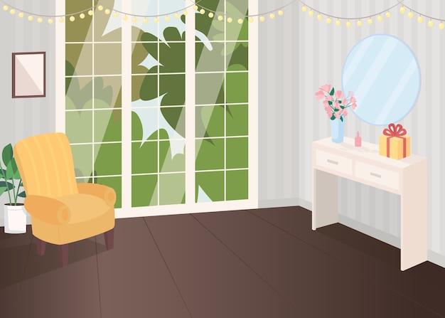 Празднично оформленная комната плоская цветная иллюстрация