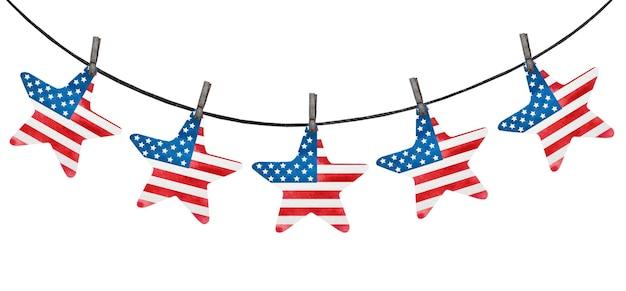 アメリカ国旗の国旗の色で描かれたお祭りの装飾。