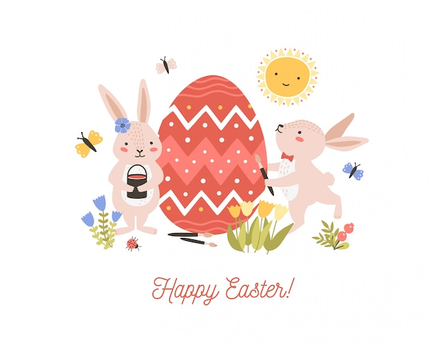 Festive decorative composition with pair of adorable lovely bunnies or rabbits decorating giant egg and happy easter wish. flat cartoon illustration for spring religious holiday celebration.