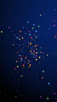 축제 즐거운 색종이 조각. 축하 별. 진한 파란색 배경에 즐거운 별입니다. 신선한 축제 오버레이 템플릿입니다. 수직 벡터 배경입니다.