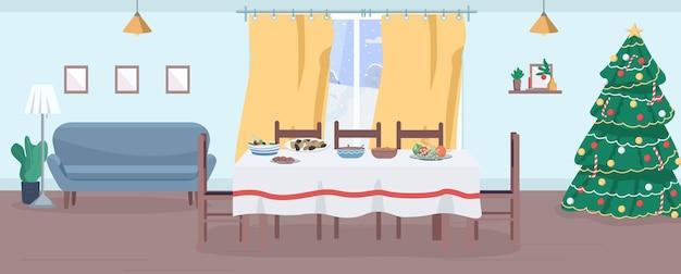 Праздничный ужин полу плоской иллюстрации. новогодний банкет. рождественский праздник. зимний отдых для большой семьи. украшенный бытовой 2d мультяшный интерьер для коммерческого использования