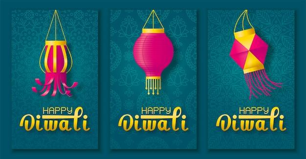 Festive diwali poster set
