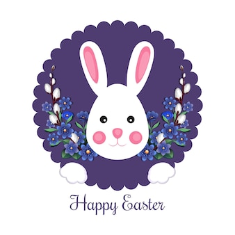 Festive easter banner with bunny and traditional easter greeting. happy easter  illustration