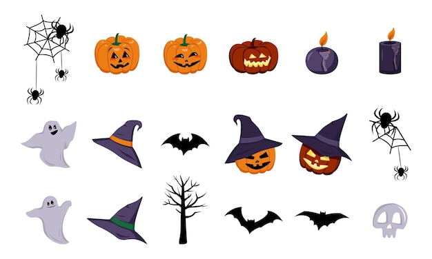 Festive elements for halloween lanterns of pumpkins with faces