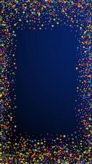 축제 에너지 색종이. 축하 별. 진한 파란색 배경에 무지개 밝은 별. 우아한 축제 오버레이 템플릿입니다. 수직 벡터 배경입니다.