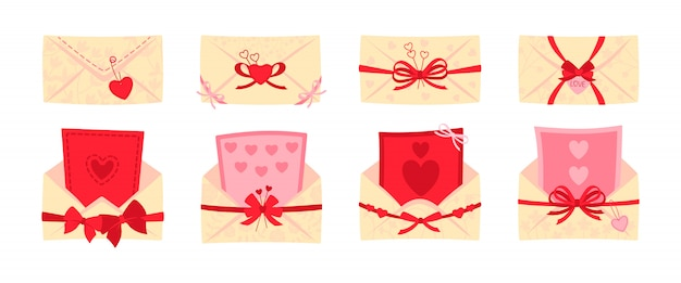 Festive envelope, postcard flat set. valentine day or wedding envelopes for letters, decorated bows. opened, closed mail cover. cartoon newsletter, delivery of invitation. isolated illustration
