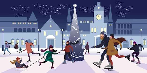 Festive evening on outdoors rink in the downtown square on the christmas eve. flat vector illustration.