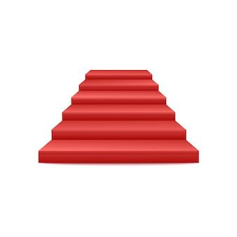お祝いのイベント赤いカーペットの階段の表彰台またはペデスタルの正面3dの現実的なビューは白い背景で隔離されます。階段ステージ表彰式のアイコン。