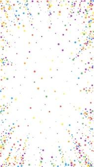 お祝いの素晴らしい紙吹雪。お祝いの星。白い背景の上の虹の明るい星。魅力的なお祝いオーバーレイテンプレート。垂直ベクトルの背景。