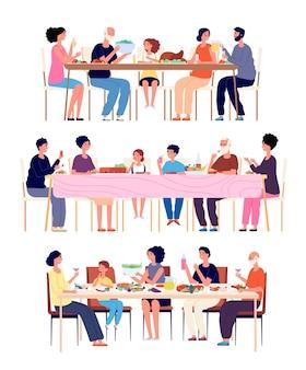 축제 가족 저녁 식사입니다. 어른들은 식사를 하고, 명절에는 부모님들이 식사를 합니다. 음식. 가정 점심, 세대 전통 벡터 개념입니다. 할머니와 아이들 일러스트와 함께 식탁에서 식사하는 여자와 남자