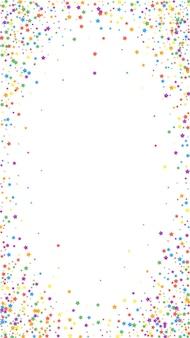 お祝いの派手な紙吹雪。お祝いの星。白い背景の上の虹の明るい星。有利なお祝いオーバーレイテンプレート。垂直ベクトルの背景。