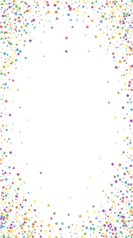 Festive fancy confetti. celebration stars. rainbow bright stars on white background. favorable festive overlay template. vertical vector background.