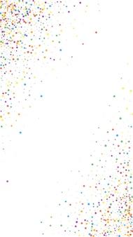 お祝いの魅力的な紙吹雪。お祝いの星。白い背景の上の幼稚な明るい星。素晴らしいお祭りオーバーレイテンプレート。垂直ベクトルの背景。