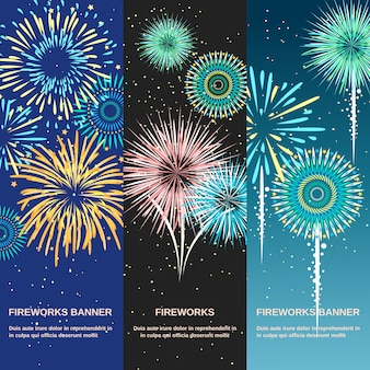 Festive firework abstract vertical banners