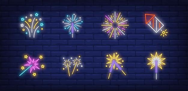 Festive firework symbols set in neon style