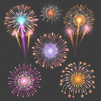 Festive firework vector on checkered dark background