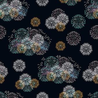 Festive fireworks on dark background seamless pattern