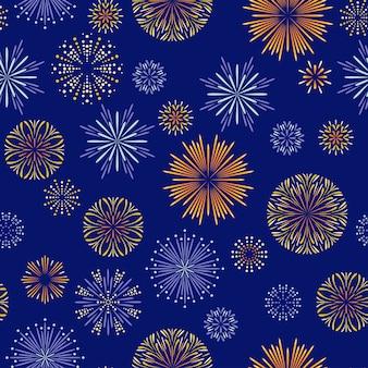 Festive fireworks on dark blue seamless pattern