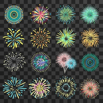 Festive fireworks on dark transparent background