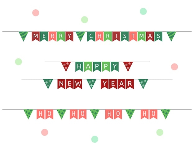 Festive flags garlands vector set of new year and christmas holiday buntings decorations
