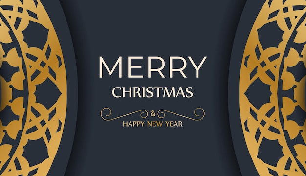 Festive flyer happy new year in dark blue color with luxury gold ornaments