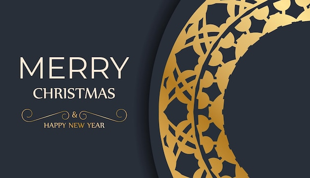 Festive flyer happy new year in dark blue color with vintage gold ornament