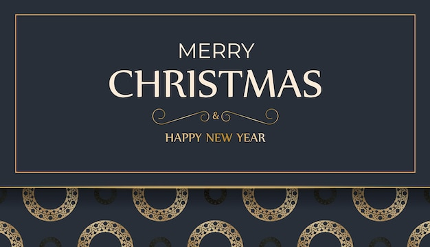 Festive flyer happy new year dark blue color with vintage gold pattern