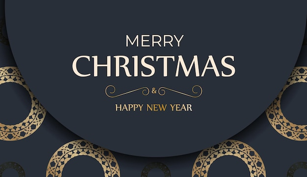 Festive flyer happy new year dark blue color with winter gold pattern
