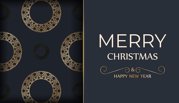 Festive flyer happy new year in dark blue with luxury gold pattern
