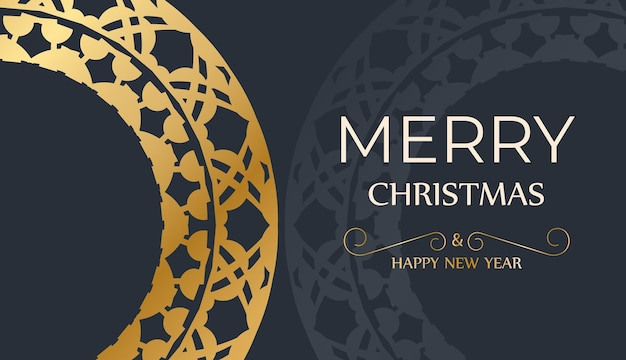 Festive flyer happy new year in dark blue with vintage gold pattern