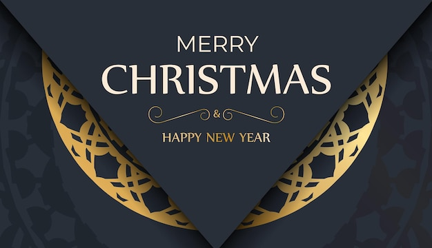 Festive flyer merry christmas dark blue color with abstract gold ornament