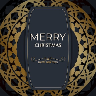 Festive flyer merry christmas dark blue color with vintage gold ornament