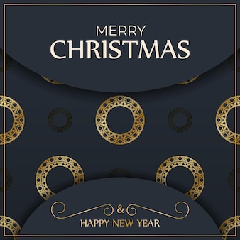Festive flyer merry christmas dark blue with luxury gold ornaments