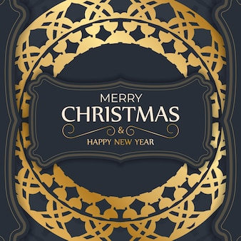 Festive flyer merry christmas dark blue with luxury gold pattern